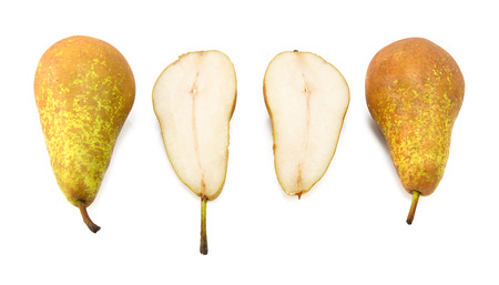 Conference pears - two whole, one cut in half, isolated on a white background photo