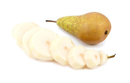Two Conference pears - one whole, the other peeled and sliced - isolated on a white background photo
