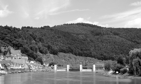 baden wurttemberg: View of a traditional southwest German town from the Neckar river - monochrome processing