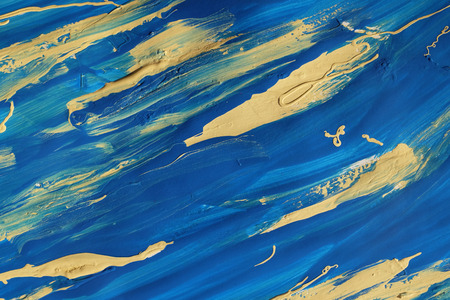 lumpy: Bold abstract blue and yellow paint smears on paper, background texture