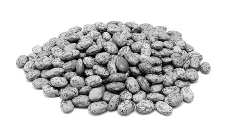 pinto bean: Pinto beans, isolated on a white background - monochrome processing