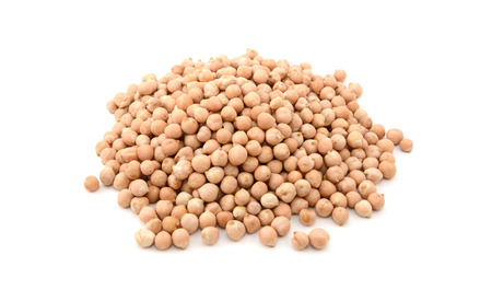 garbanzo bean: Dried chick peas, isolated on a white background Stock Photo