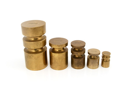 metric: Set of brass metric weights in grams - 500g, 200g, 100g, 50g and 20g metal cylinders