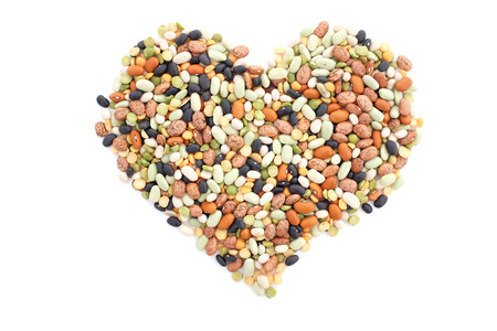 turtle bean: Mixed dried beans in a heart shape, isolated on a white background Stock Photo
