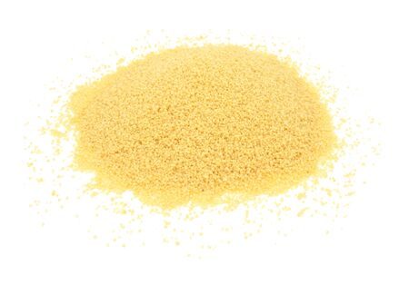couscous: Couscous grains, isolated on a white background Stock Photo