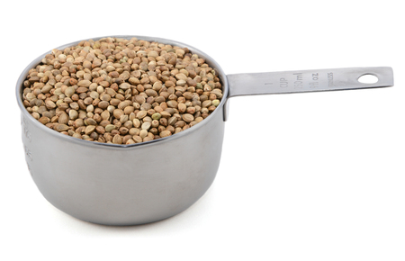 Hemp seeds in an American measuring cup, isolated on a white background
