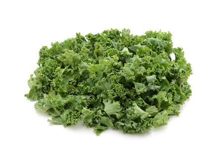 cruciferous: Chopped kale, isolated on a white background Stock Photo