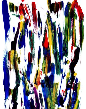 multicoloured: Random abstract smears of multi-coloured paint on white paper