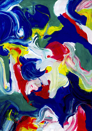 daubs: Thick abstract swirls and daubs of acrylic paint running together Stock Photo