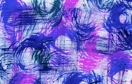 swirled: Swirled abstract brush marks in blue, pink and purple paint on white paper Stock Photo