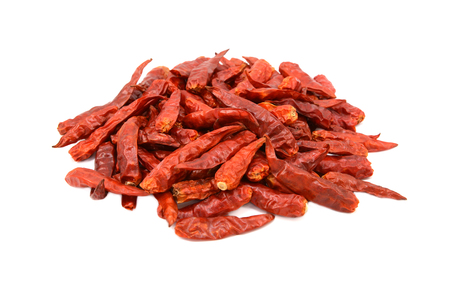 Spicy red birds eye chilli peppers, isolated on a white background