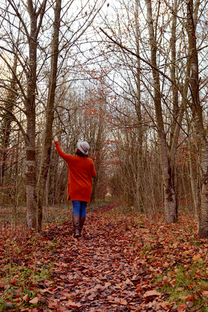 Woman walking down autumnal woodland path alone, dressed in warm clothes and hat, with knee-high boots. At one with nature, she reaches up to touch bare tree branches. Stock Photo