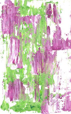 白い背景に塗料のモーヴと緑の抽象的な縞 写真素材