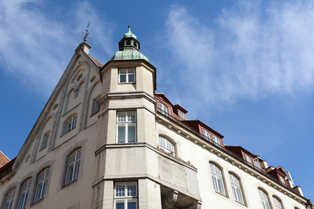 TALLINN, ESTONIA - May 12, 2018: Front and side elevation of the Embassy of Poland building on Vana Turg in Tallinn