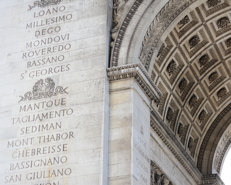 Names of major battles of the Napoleonic Wars inscribed on the south pillar of the Arc de Triomphe in Paris, France