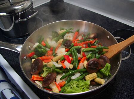 stove: Stir fry vegetables