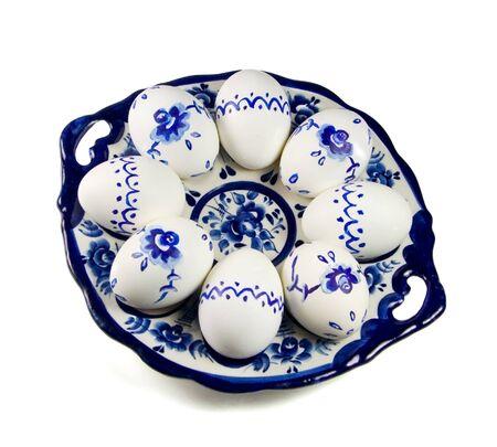Gzhel style easter eggs on white background photo