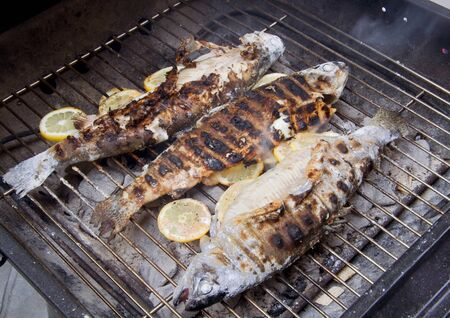 Hot grill with three rainbow trouts and lemon wheels Stock Photo