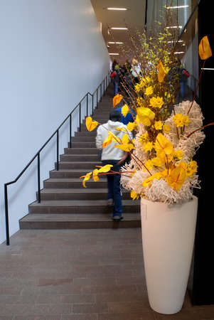 People walking on staircase in De Young Museum to Bouquets to Art annual floral exhibition.March 14, 2012.http:bouquetstoart.famsf.org