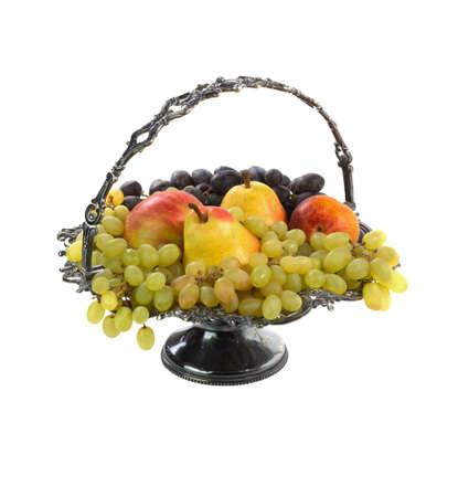antique vase: Antique vase with fruits on white background Stock Photo