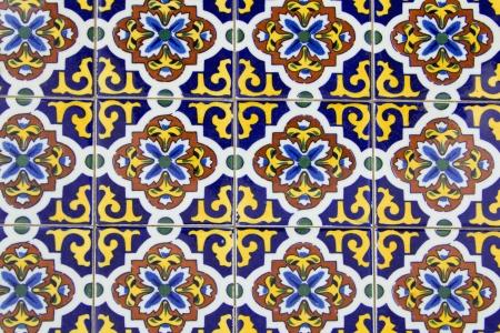 Colorful old ceramic spanish tiles background Stock fotó