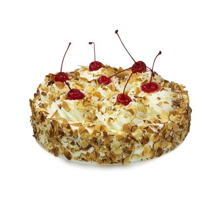 rum cake: Italiana Torta Rum decorata con panna montata, mandorle e ciliegie su bianco