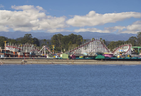 Santa Cruz (California) Giant Dipper Roller Coaster view from pier.