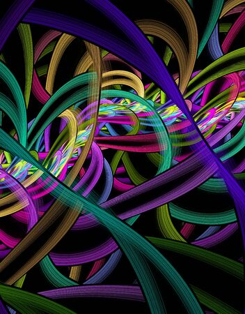 Abstract fractal colorful ribbons. Computer generated image. Stock Photo