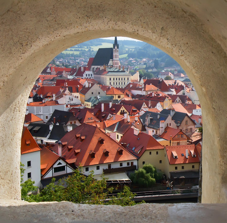 krumlov: View of Cesky Krumlov from the castle bridge window