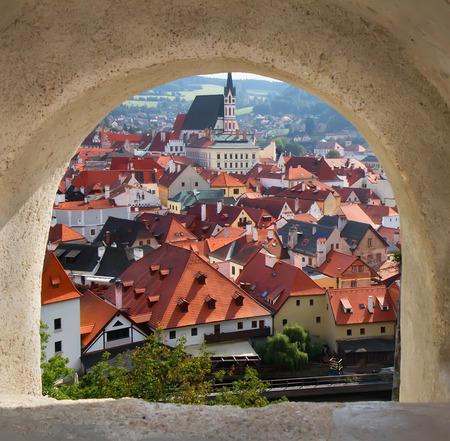 europeans: View of Cesky Krumlov from the castle bridge window