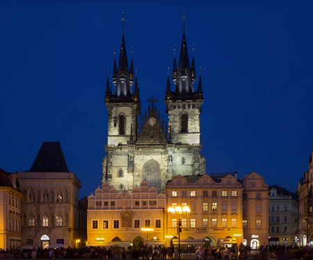 tn: Evening view of Old Town Square (Stare Mesto) with Church of Our Lady before T�n in Prague, Czech Republic.
