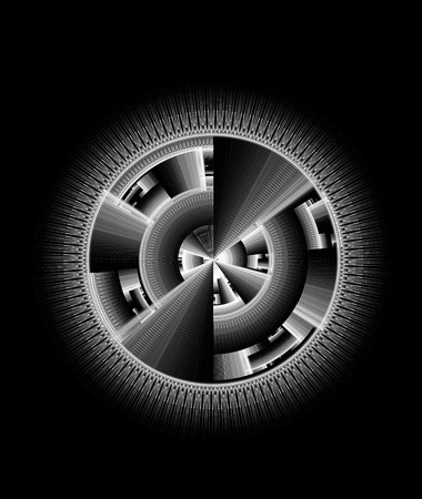 computer generated: Abstract technology  black and white computer generated fractal with copy space