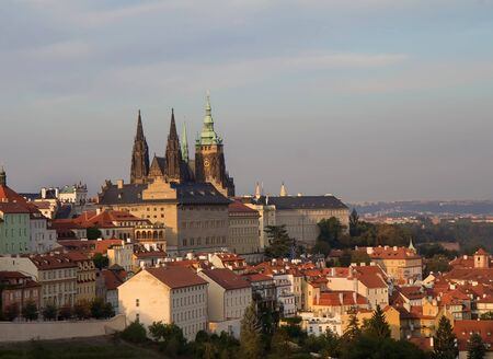 Prague sunset view from above with St. Vitus Cathedral