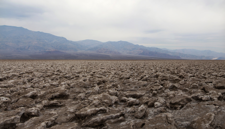 Salt formations at Devils Golf Course in Death Valley National Park, California. Panorama.