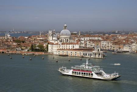 View of Venice and the Basilica Santa Maria della Salute from Bell Tower of Cathedral San Giorgio Maggiore, Italy