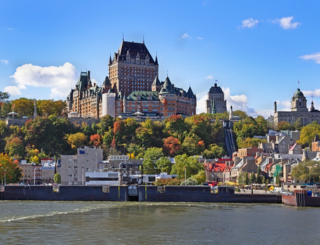 Autumn in Old Town Quebec City. View from Saint Lawrence River