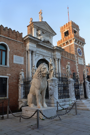 Entrance of the Arsenal in Venice, Italy. Editorial
