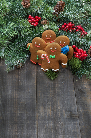 Handmade gingerbread cookies with christmas tree branches with red berries and pines on old wood background