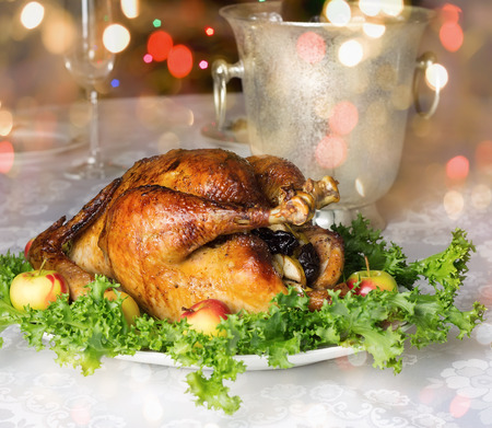 Christmas (New Year) table with roast stuffed capon.