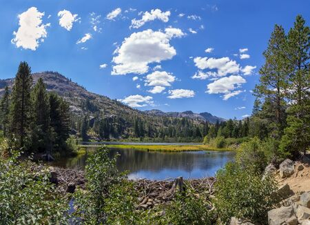 Summer landscape with small lake and mountain.  Imagens