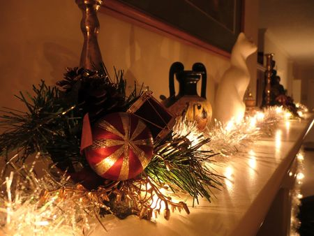 christmas decorations on mantel in  lighting