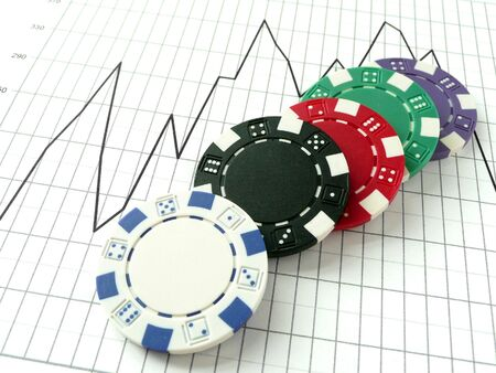 stock market risk - chips on a chart on white Stock Photo - 3403570