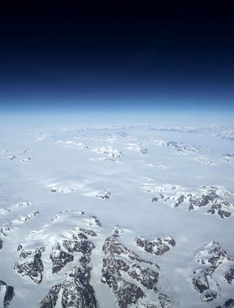 earth view from above glaciers of the frozen north beneath black space Stock Photo - 3410644