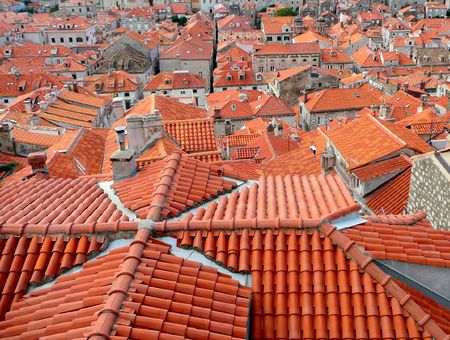 background of red tile rooftops above the city of Dubrovnik, Croatia Stock Photo