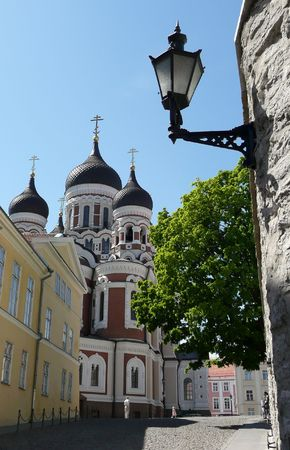 Nevsky Cathedral from the street in Tallinn, Estonia
