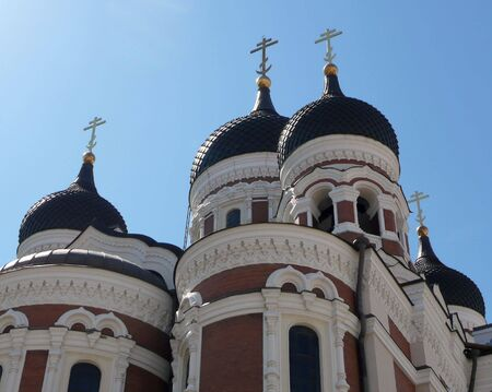 detail of the domes of Nevsky Cathedral in Tallinn, Estonia Stock Photo