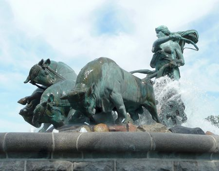 side view of the famous bronze Gefion Fountain in Copenhagen Denmark by Anders Bundgard