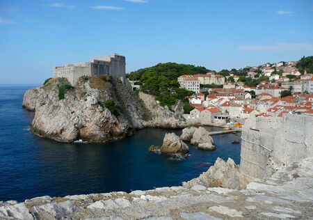 Mediterranean castle and bay across from Dubrovnik Old Town, Croatia.  Stock Photo