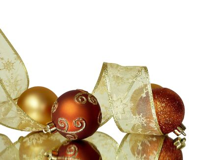 corner background frame of gold and orange christmas ribbons and balls isolated on white