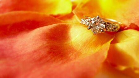Diamond engagement ring on romantic rose petals Stock Photo